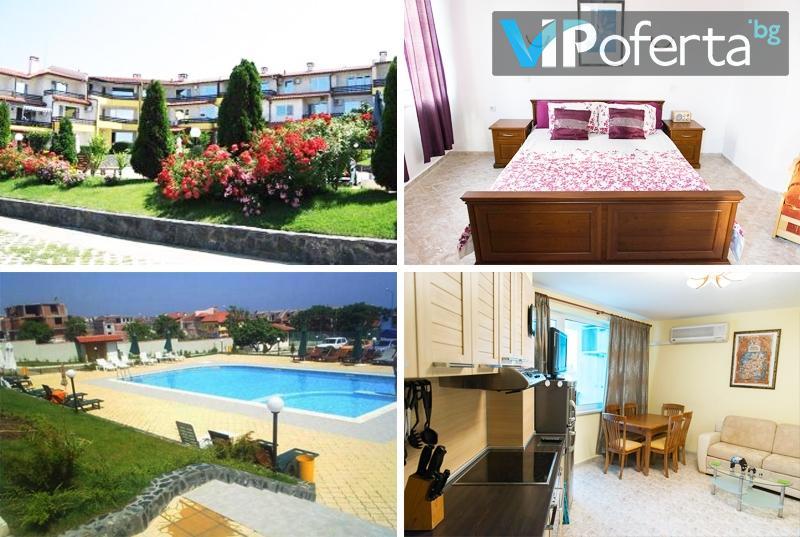 Еднодневен пакет за до четирима души в двуспален апартамент в комплекс Романтика, Созопол!