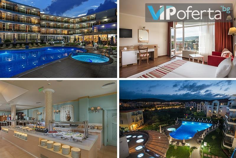 Еднодневен пакет със закуска и вечеря + ползване на басейн в хотел Мирамар, Каваци