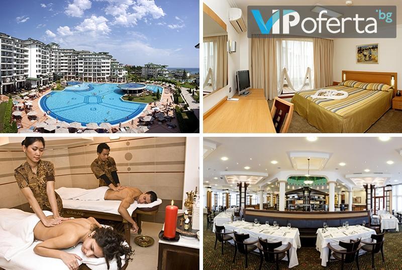 Пакет със закуска, обяд и вечеря + масаж на гръб във Виктория СПА Център в Emerald Beach Resort & Spa *****, Равда