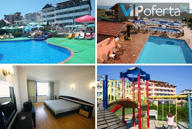 Еднодневен пакет със закуска, обяд и вечеря + анимация за деца и басейн в Хотел Роза, Черноморец