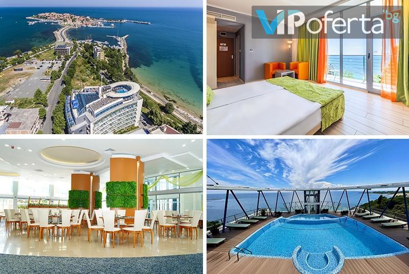 Еднодневен пакет в двойна стая или апартамент със закуска или на база All Inclusive + басейн на покрива в Хотел Сол Марина Палас, Несебър